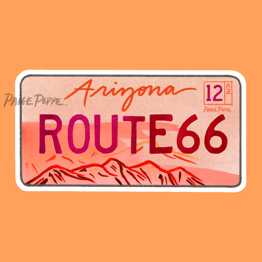 """Route 66"" License Plate Sticker"