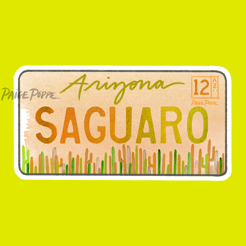 """Saguaro"" License Plate Sticker"