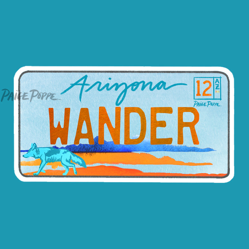 """Wander"" License Plate Sticker"