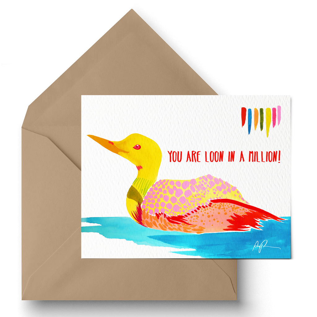 """You're Loon in a Million!"" Greeting Card"