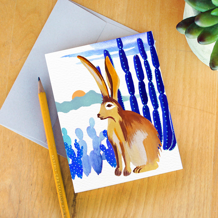 """Monsoon Jackrabbit"" Greeting Card"