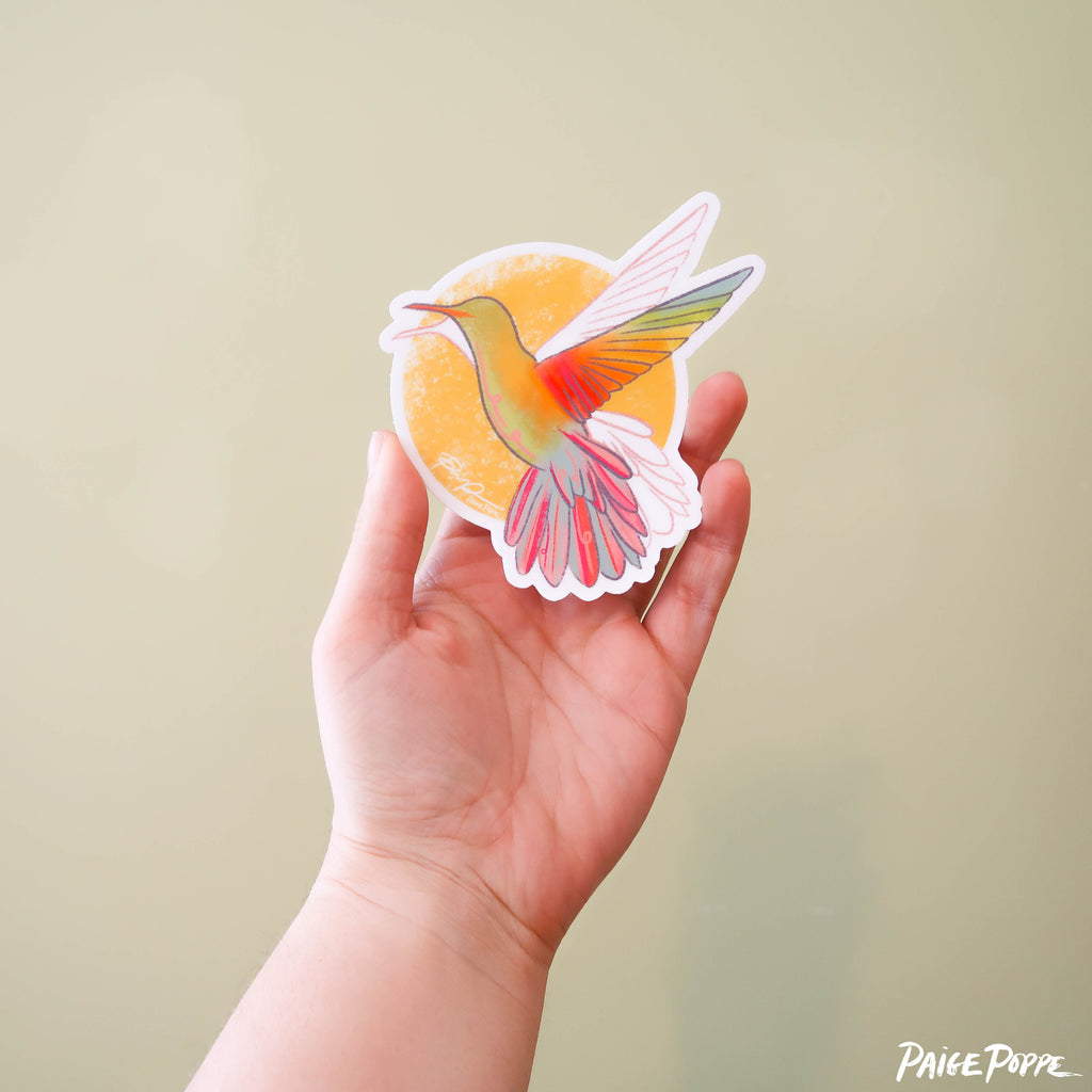"""Sunshine Hummingbird"" Sticker"
