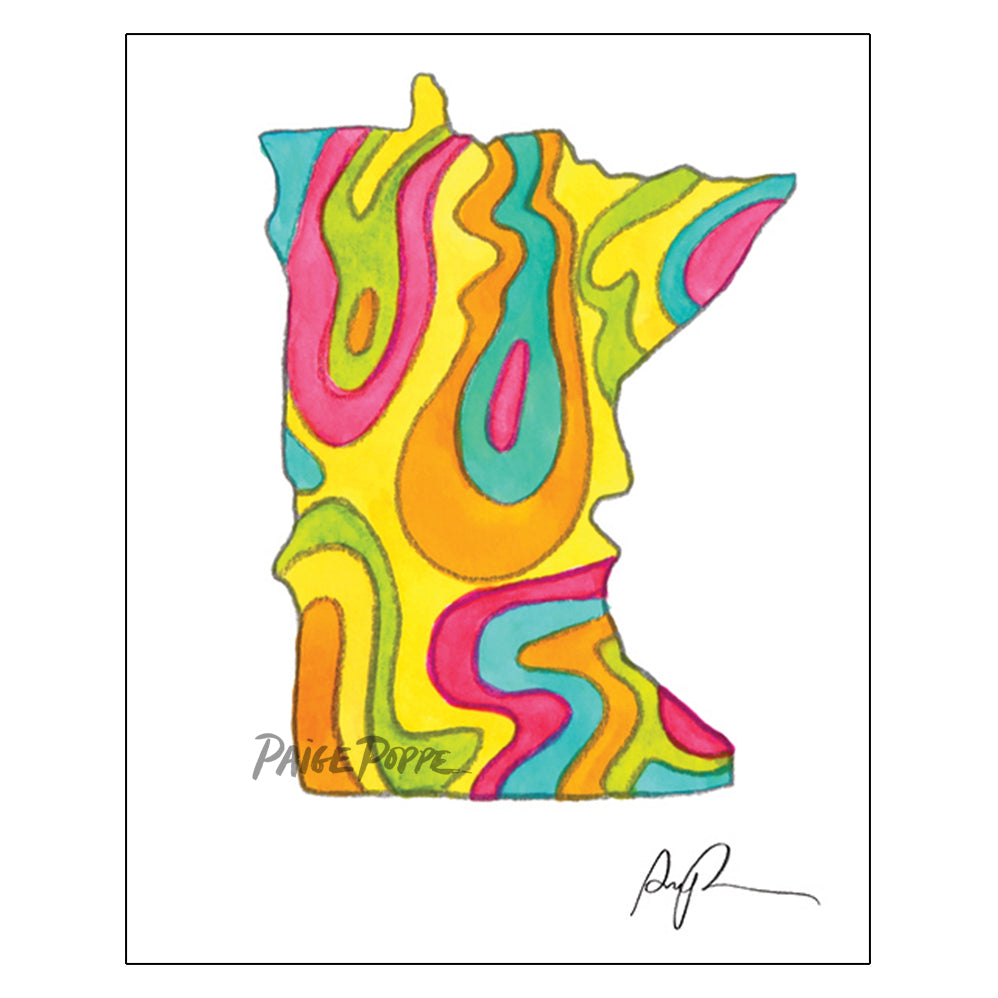 """Vibrant Minnesota"" Watercolor Print"