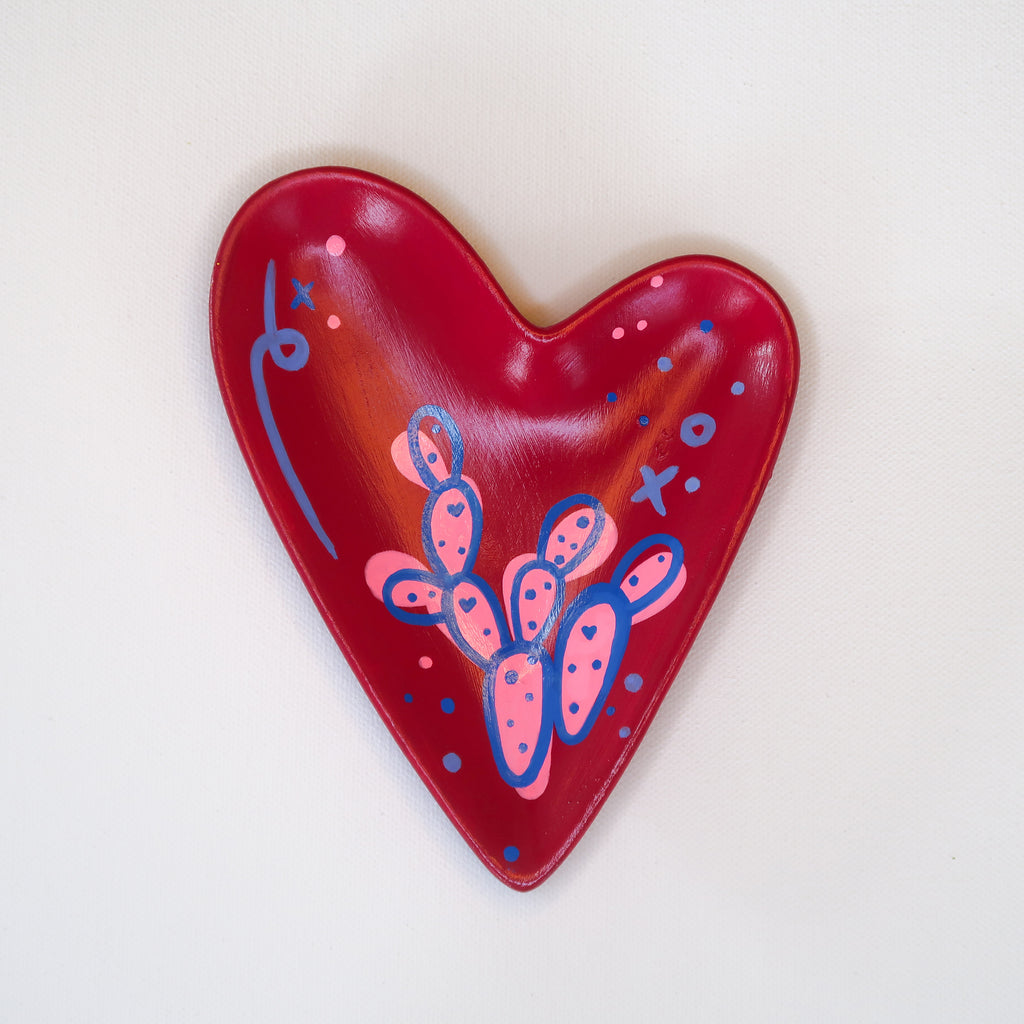 """Sweet Prickly"" Handpainted Ceramic Heart Dish"