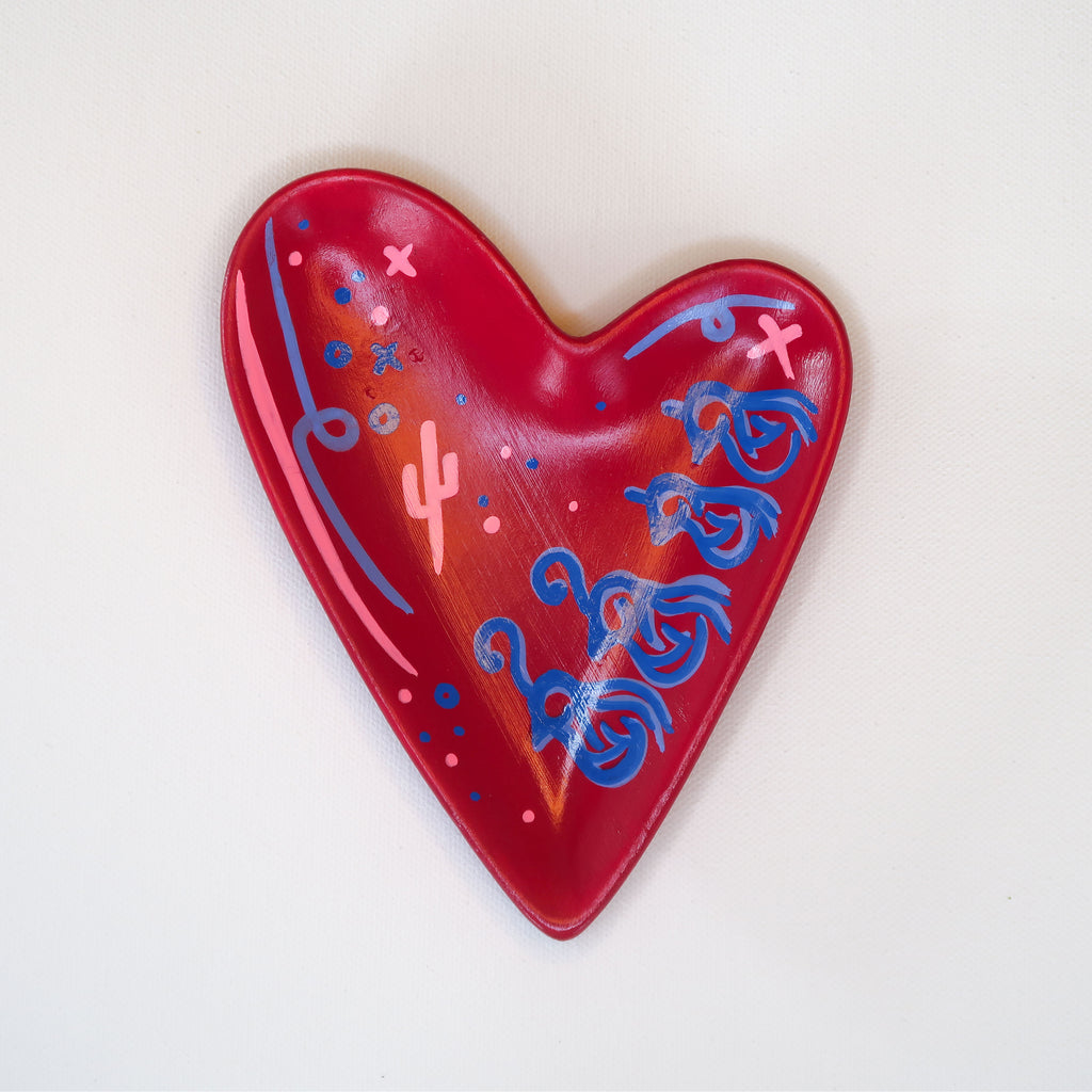"""Heartfelt Quail"" Handpainted Ceramic Heart Dish"