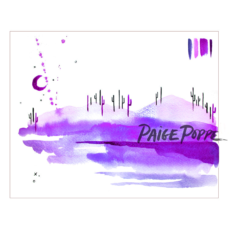 """Purple Cotton Candy Desert"" Watercolor Print"