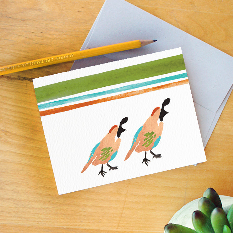 """Golden Quail"" Greeting Card"