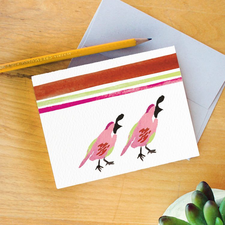 """Rosy Quail"" Greeting Card"