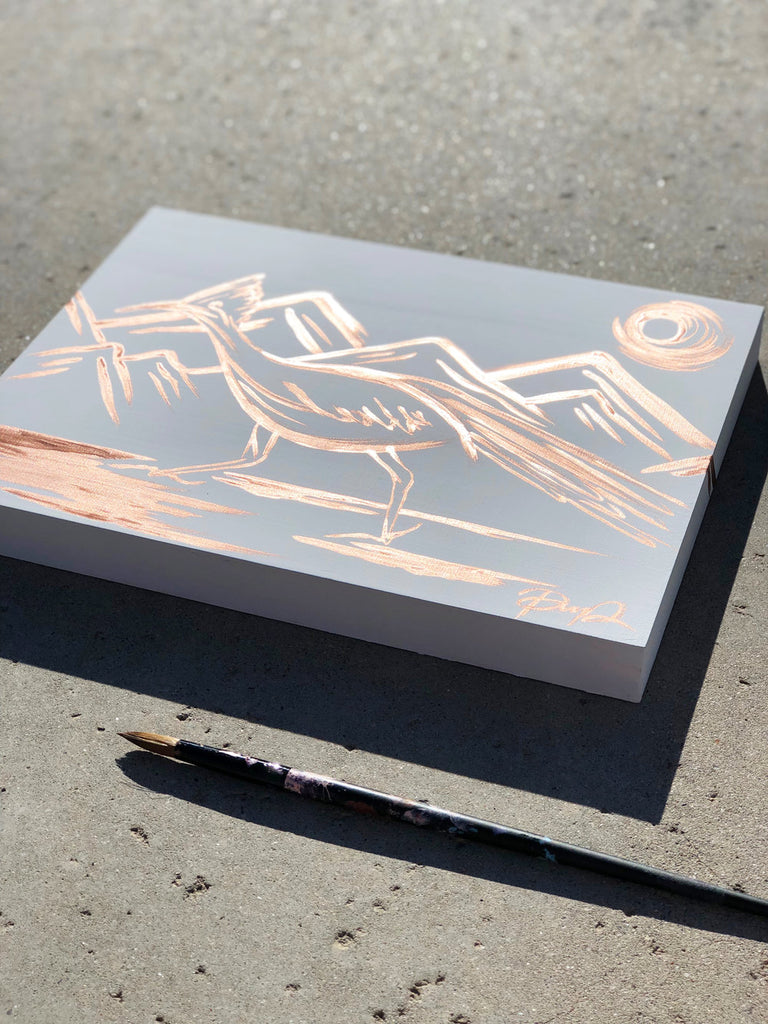 """Rose Golden Roadrunner"" Original Painting on Cradled Wood Panel"