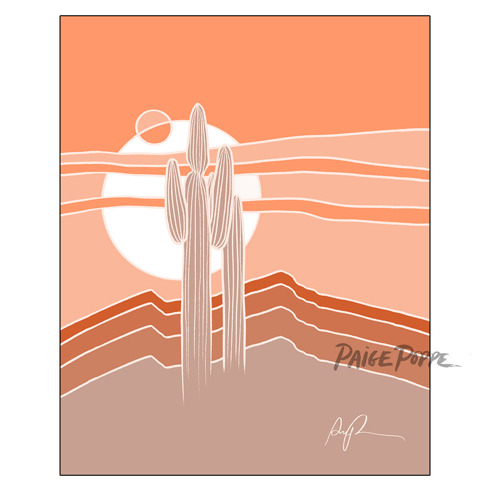 """Saguaros Eclipse"" Vertical Art Print"