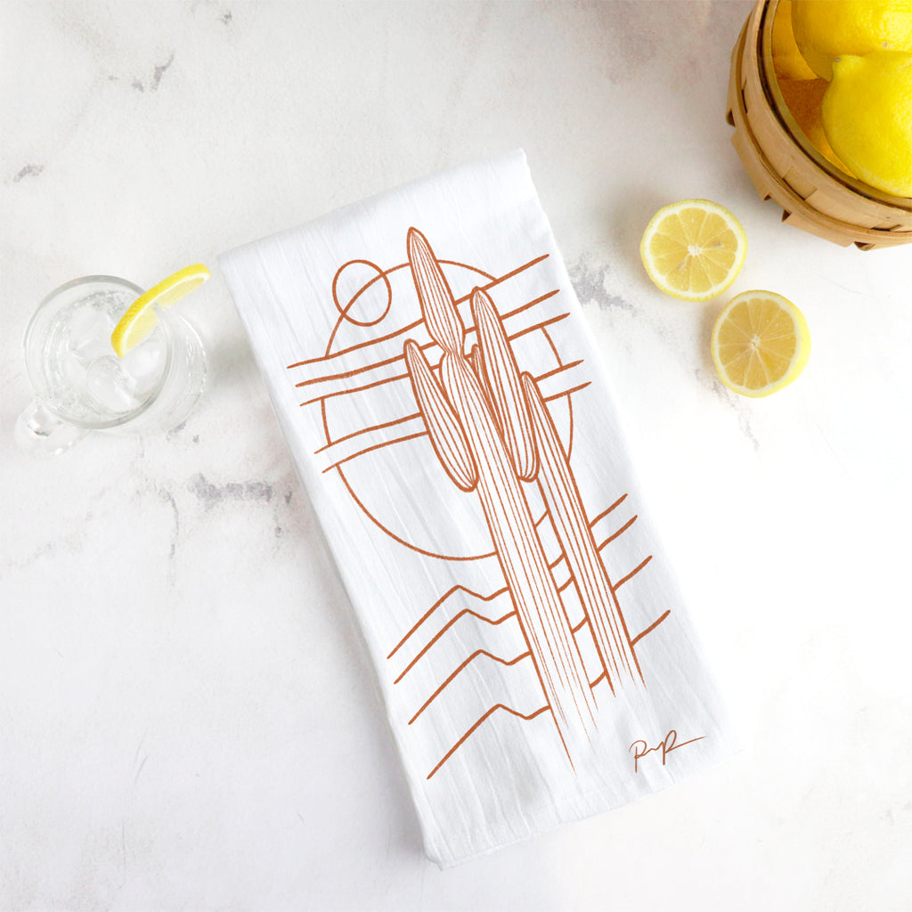 "1 LEFT! ""Saguaros Eclipse"" Tea Towel"