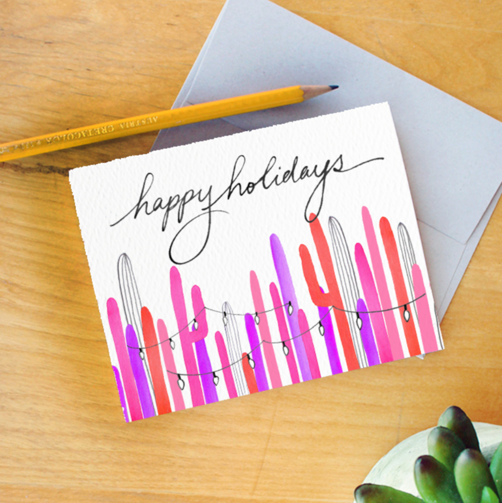 """Pink Holiday Lights"" Greeting Card"