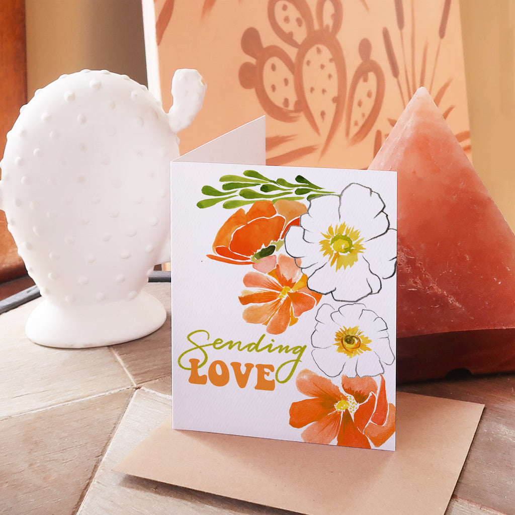 """Sending Love"" Floral Greeting Card"