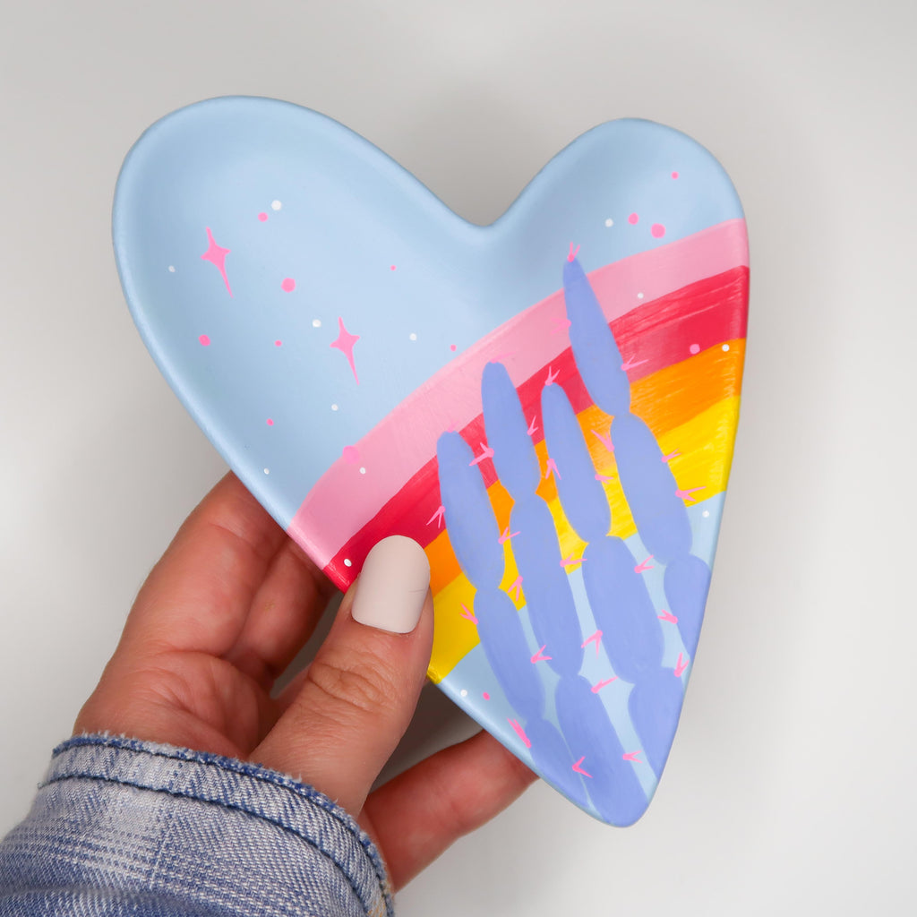 """Rainbow Dream"" Handpainted Ceramic Heart Tray"
