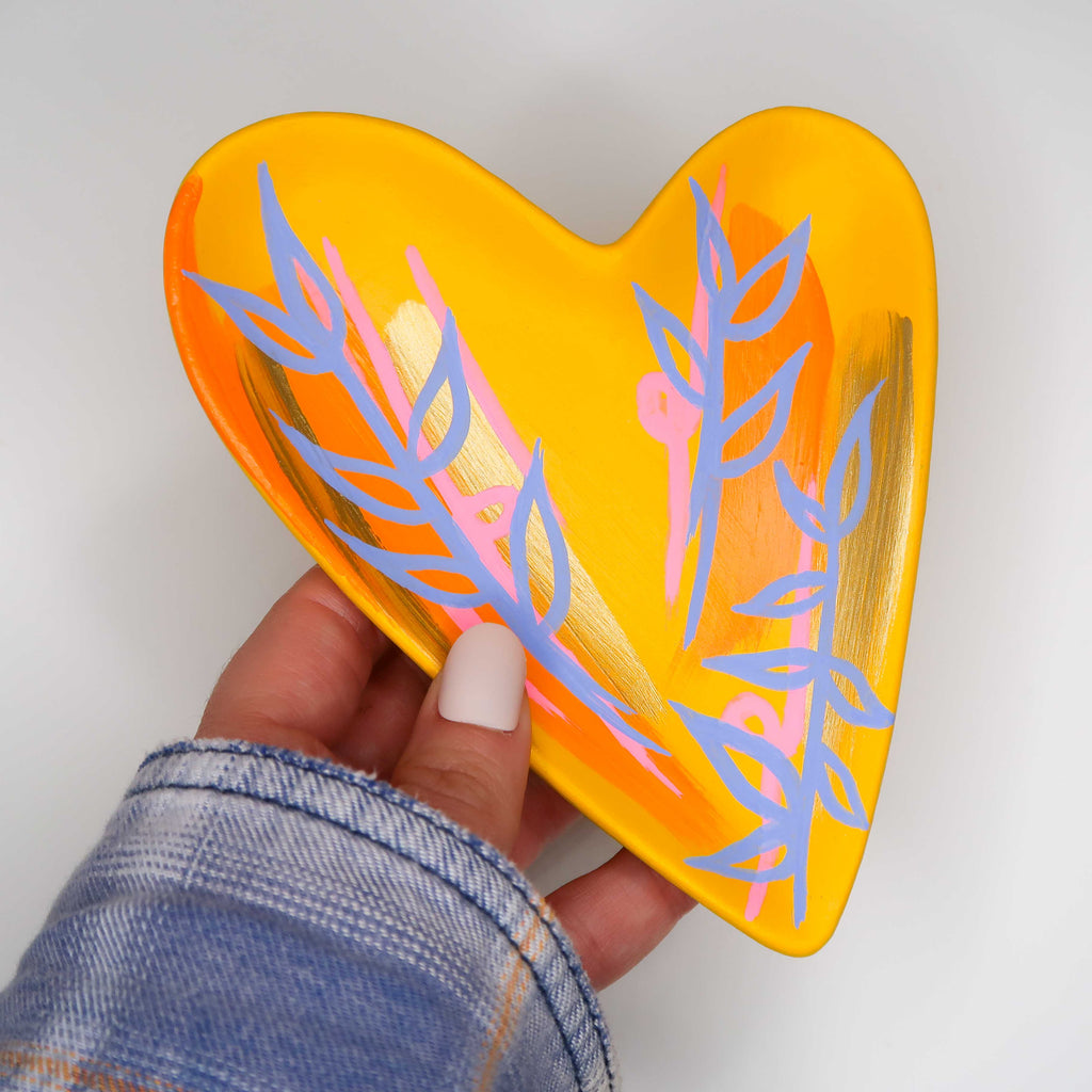 """Shimmer of Hope"" Handpainted Ceramic Heart Tray"