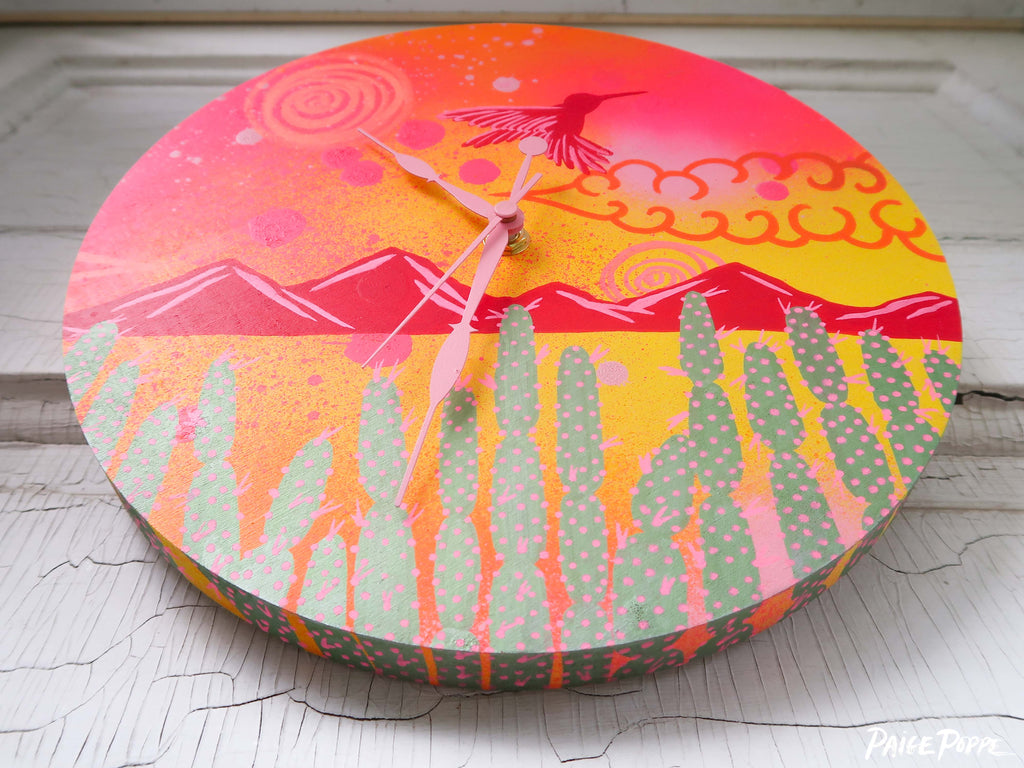"""Wings Electric"" Original Hand Painted Clock"