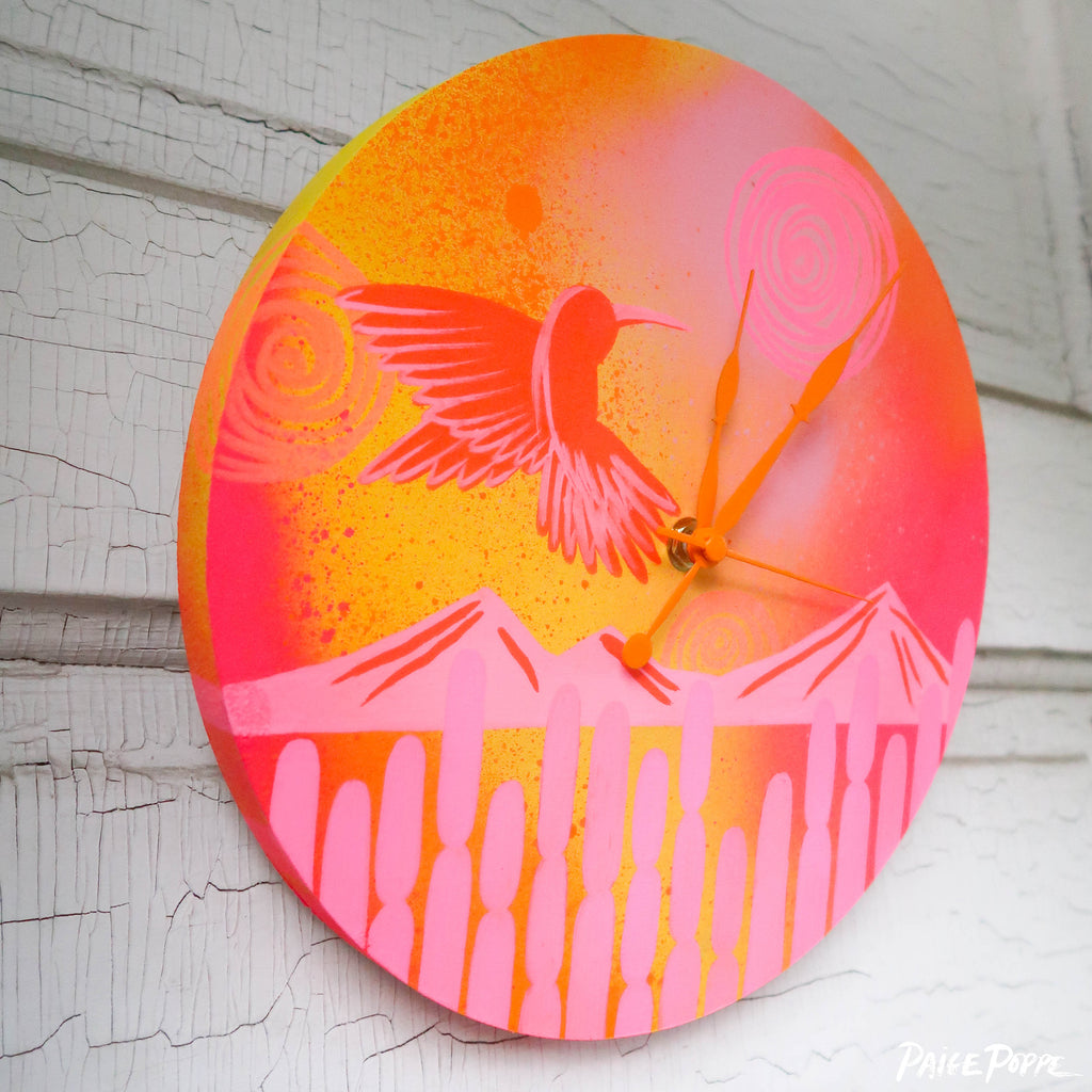 """Humming Sounds of Hope"" Original Hand Painted Clock"