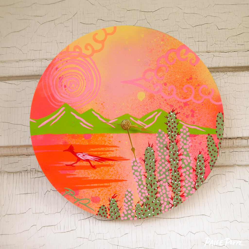 """Desert Dash"" Original Hand Painted Clock"