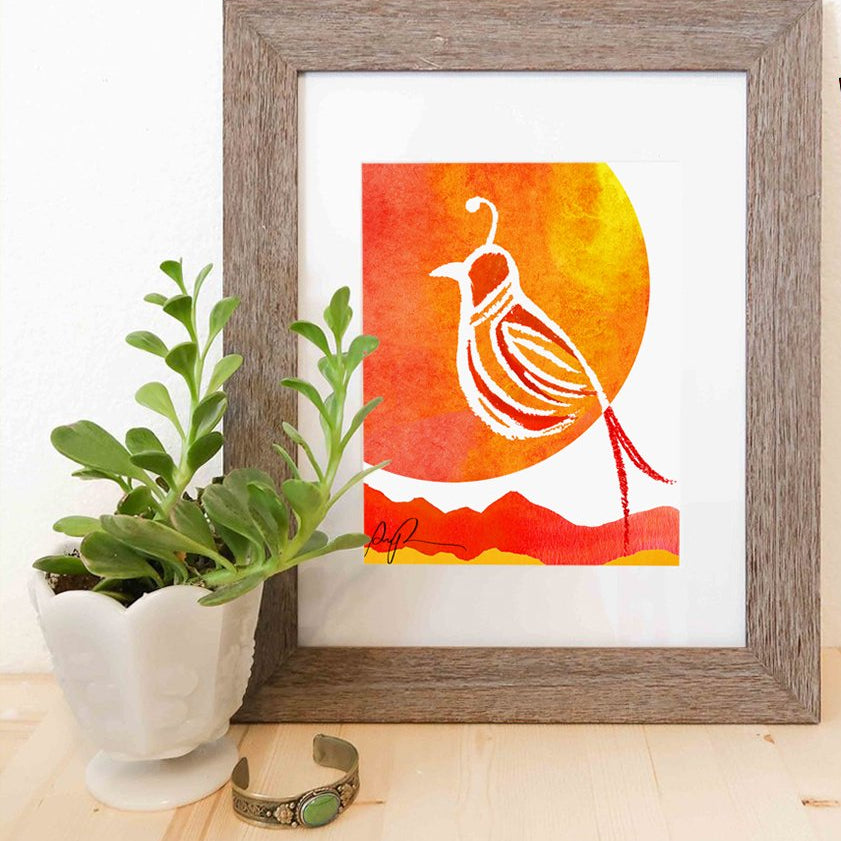 """Sunset Quail"" Watercolor Print"