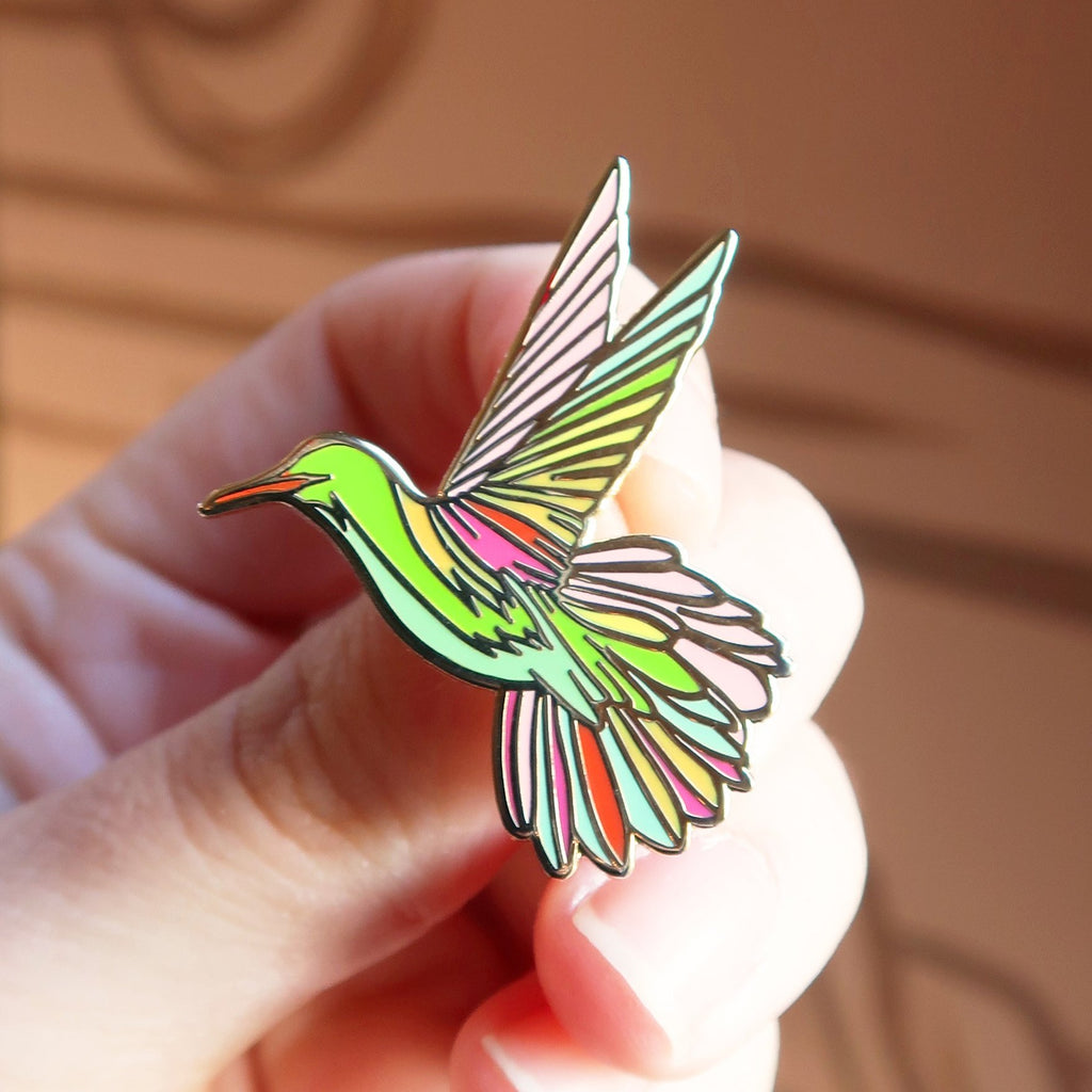 """Sunshine Hummingbird"" Enamel Pin"