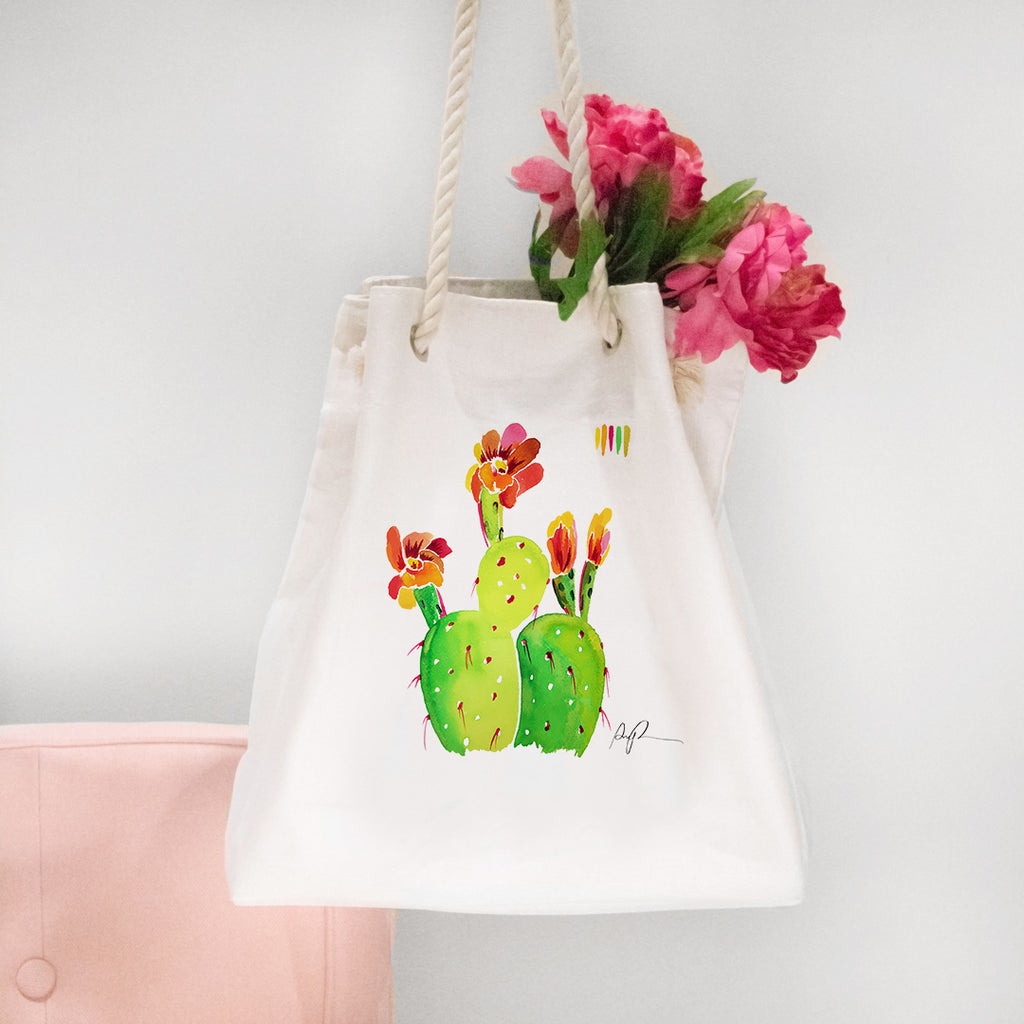 """Technicolor Blossoms"" Rope Tote Carryall"