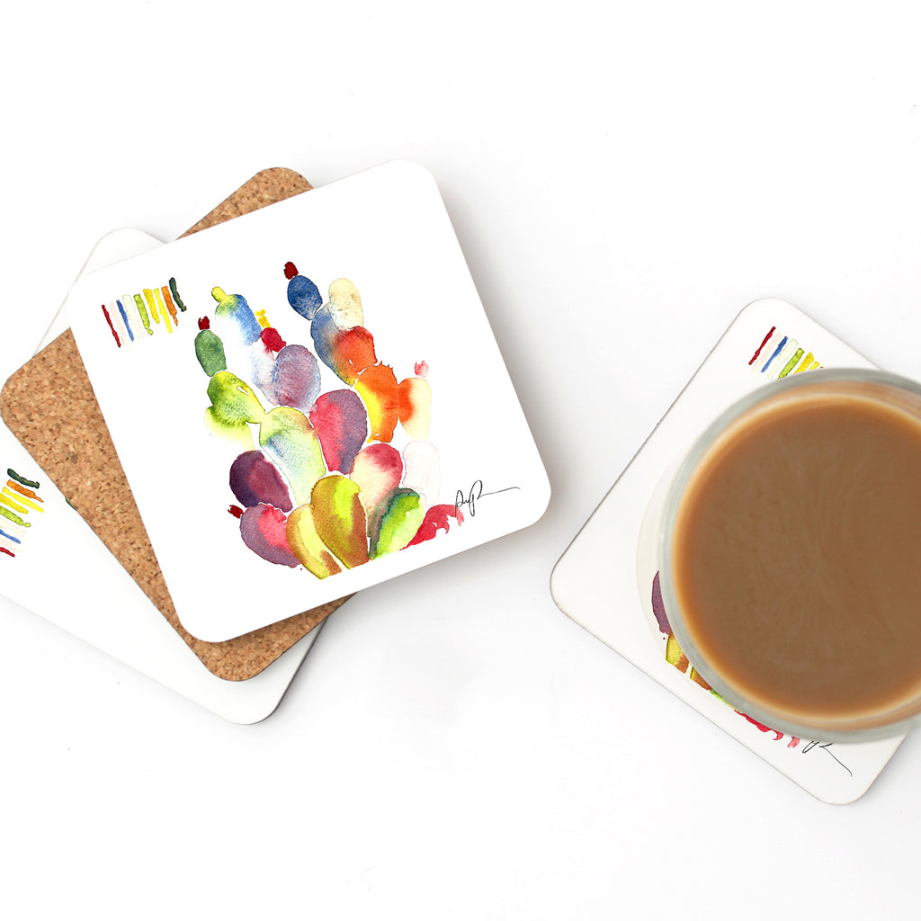 """Technicolor Botanical"" Watercolor Coaster Set"