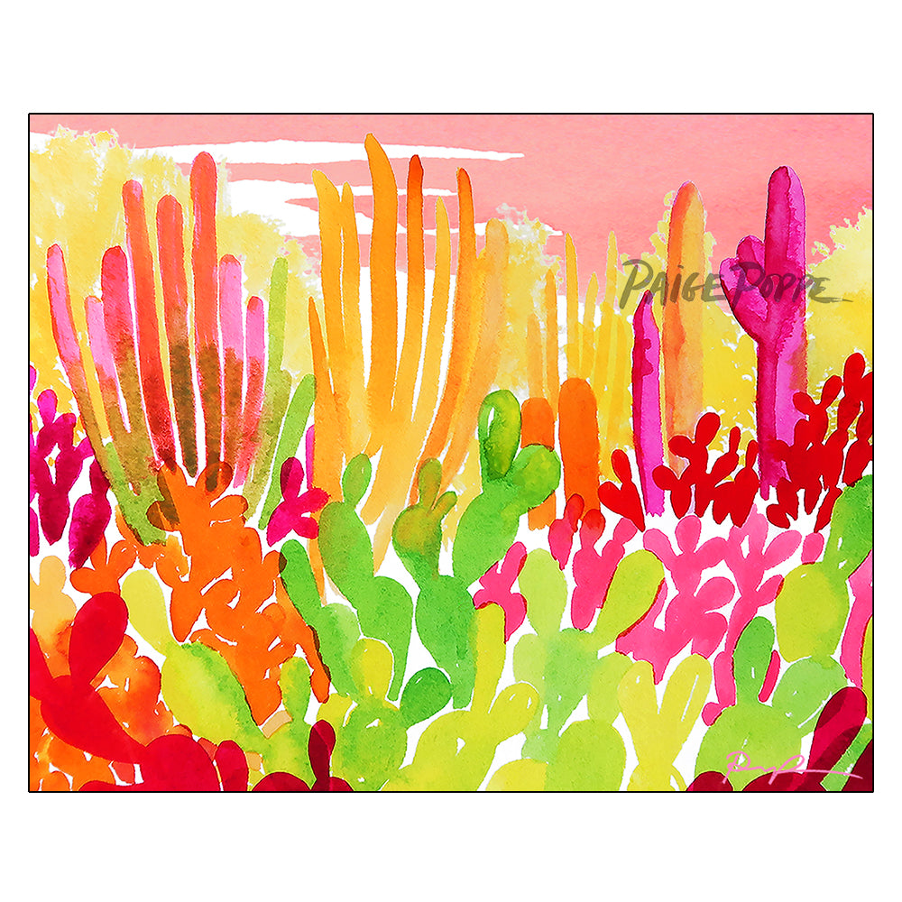 """Technicolor Garden"" Watercolor Print"