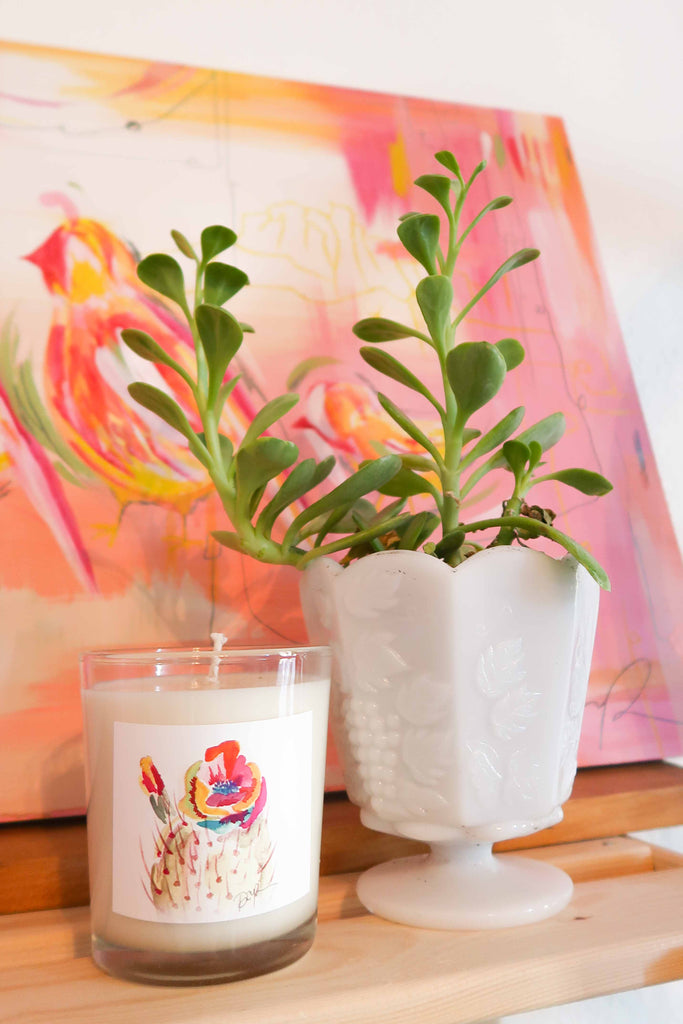 """Technicolor Bloom"" Blush Citrus Candle in Glass"