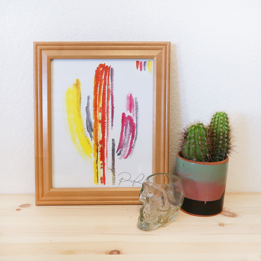 """Technicolor Saguaro"" Watercolor Print"