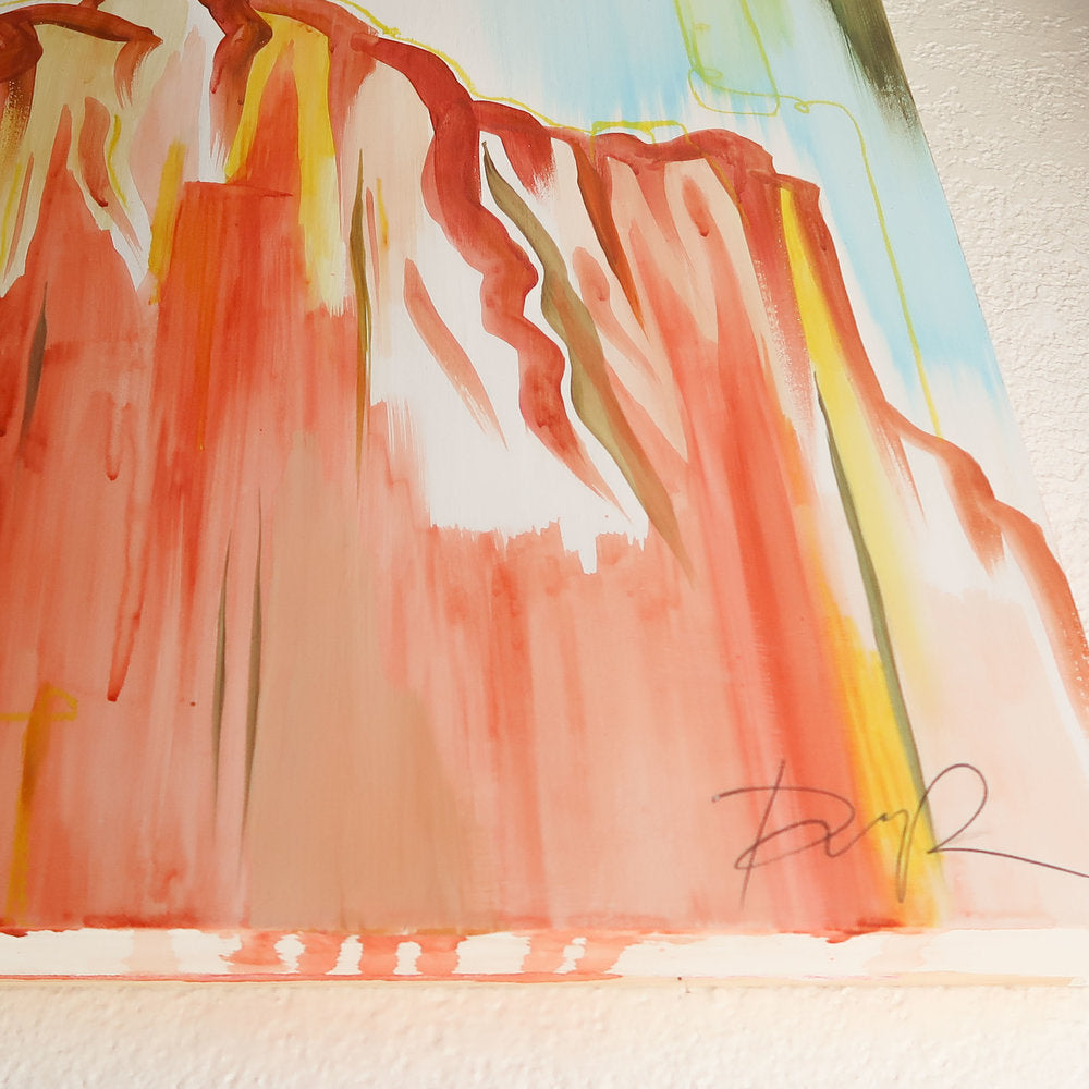 """Sedona Beyond the Willows"" Original Abstract Painting on Cradled Wood Panel"