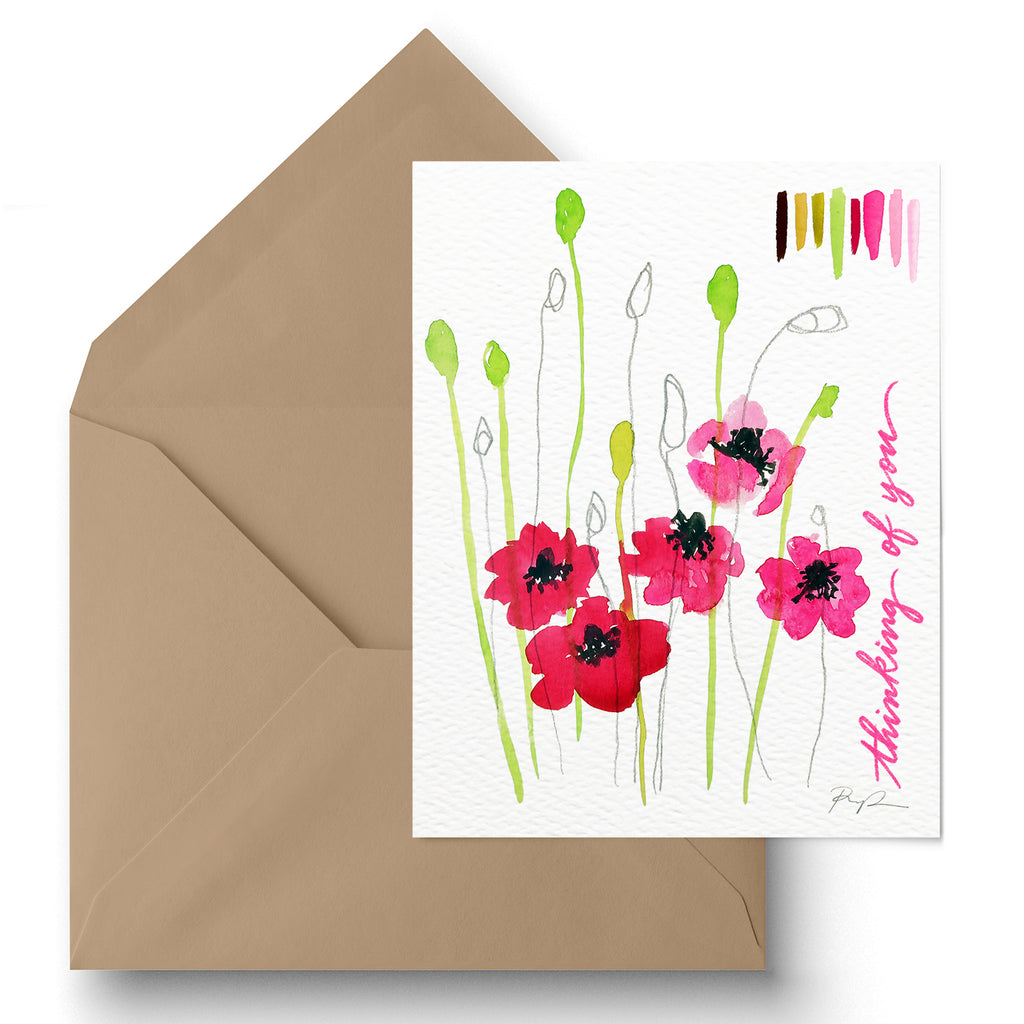 """Thinking of You"" Floral Greeting Card"