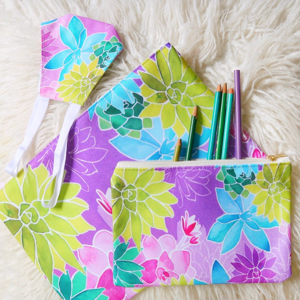 """Succulent Garden"" Patterned Pouches"