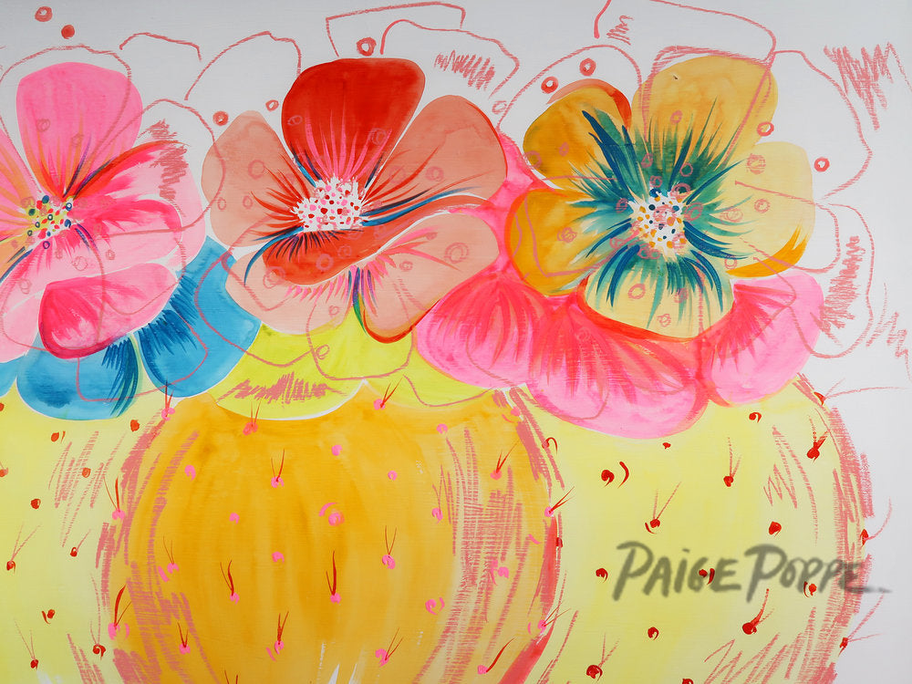 """Vibrant Barrel Blooms"" Original Watercolor on Wood Panel"