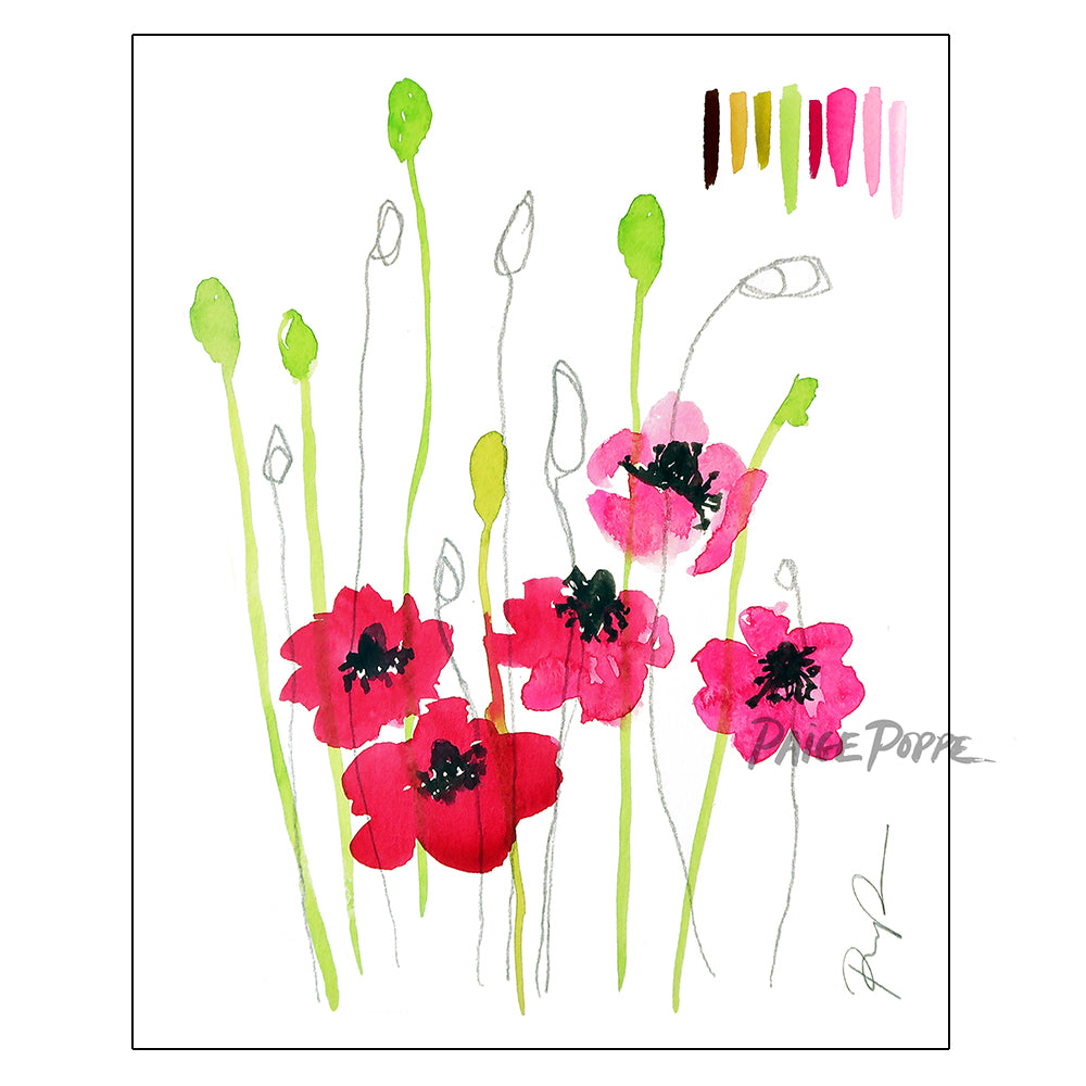 """Wild Poppies"" Watercolor Art Print"