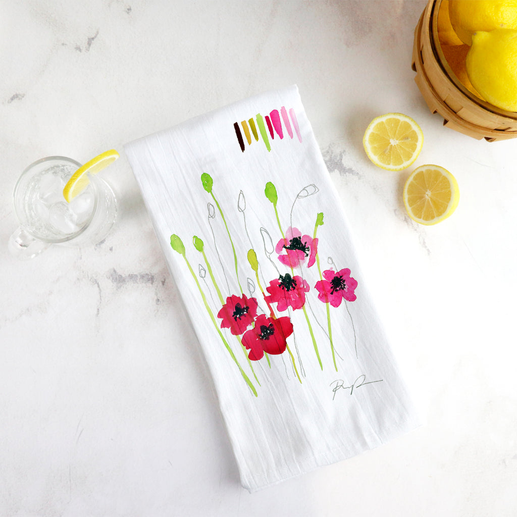 """Wild Poppies"" Tea Towel"