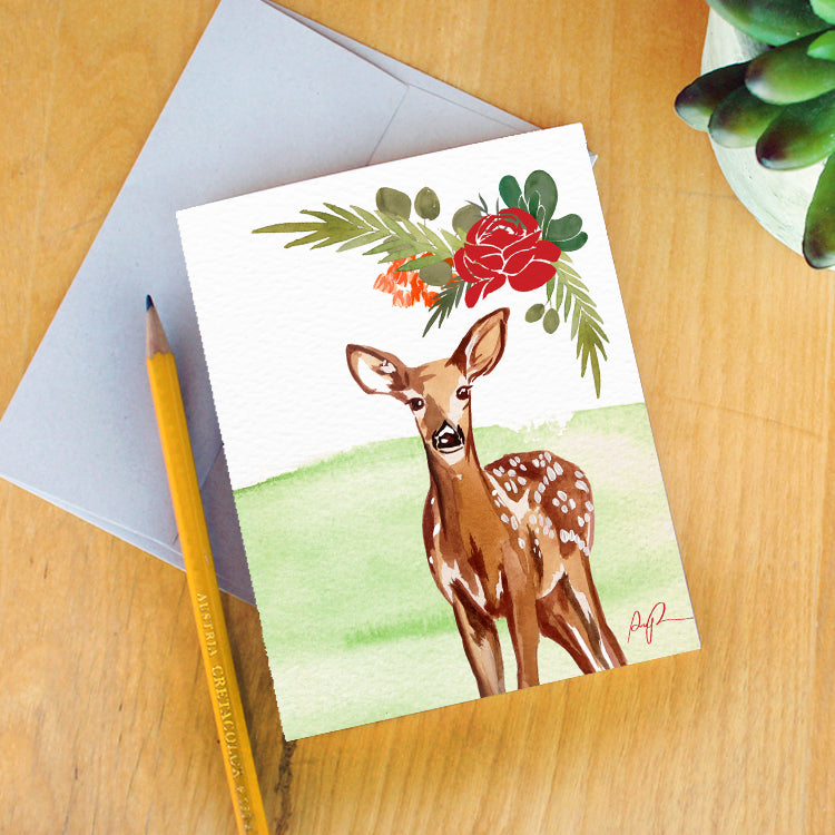 """Festive Fawn"" Greeting Card"