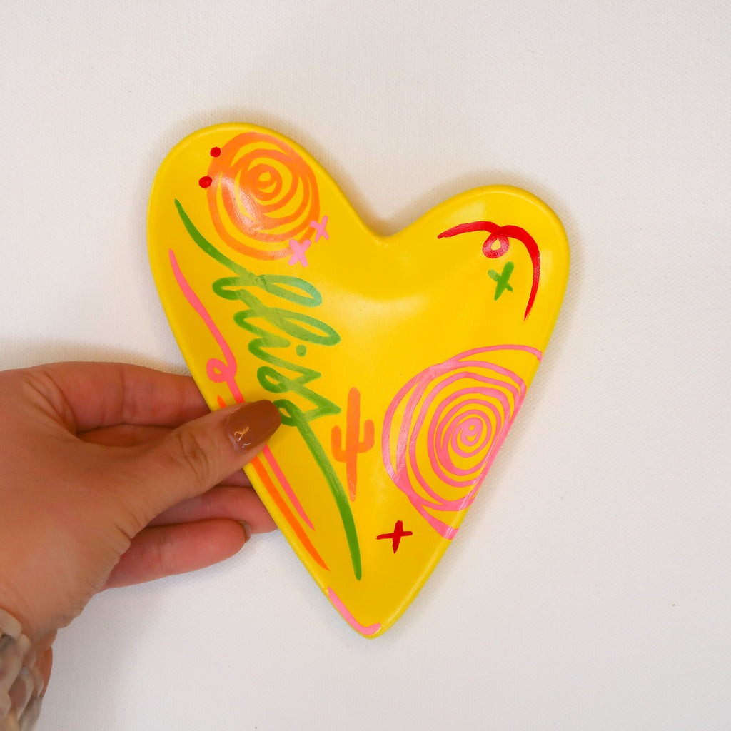 """Bliss"" Handpainted Ceramic Heart Dish"