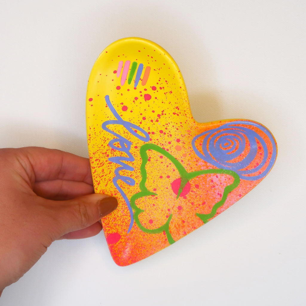 """Wings of Love"" Handpainted Ceramic Heart Dish"