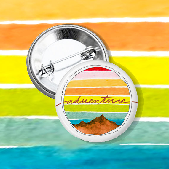 """Adventure"" Watercolor Button"