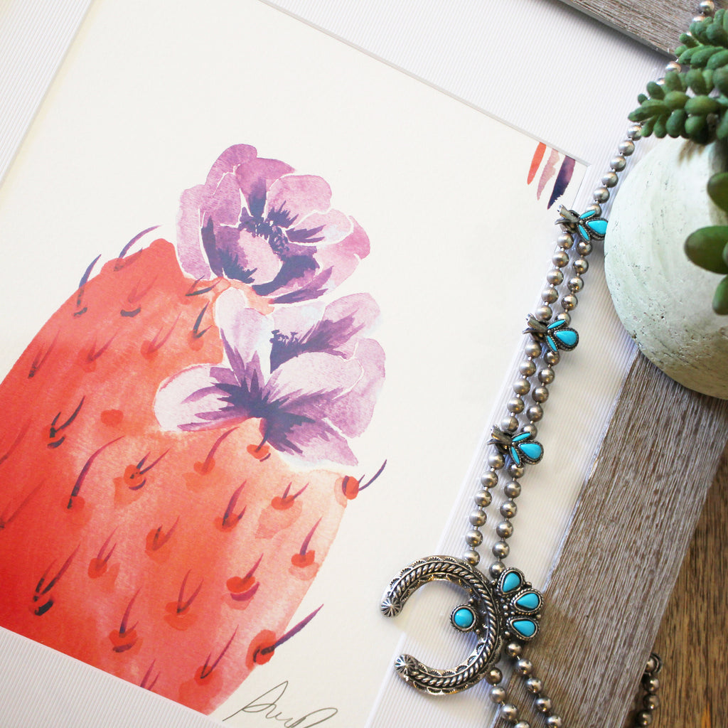 """Candy Bloom"" Prickly Pear Watercolor Print"