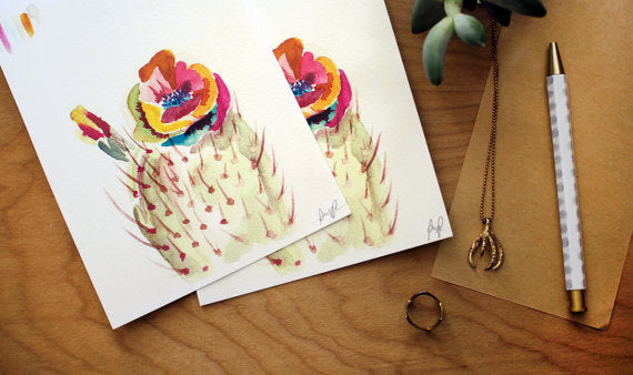"""Technicolor Bloom"" Watercolor Print"