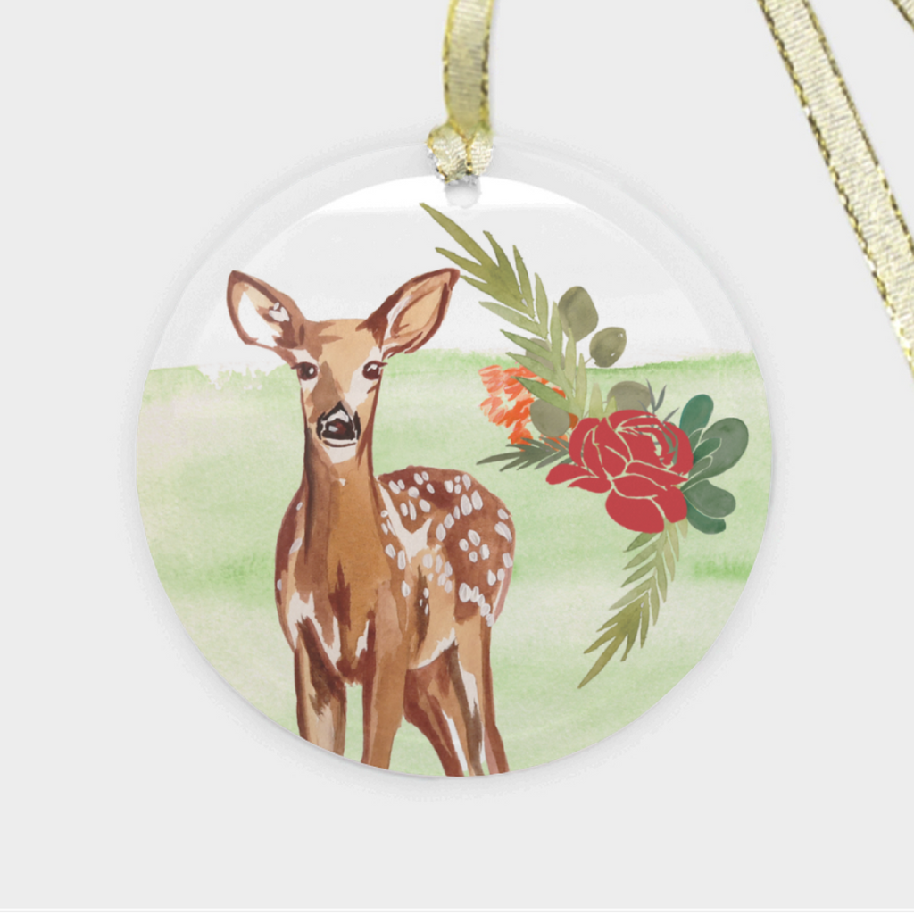 "3 LEFT! - ""Festive Fawn"" Glass Ornament"