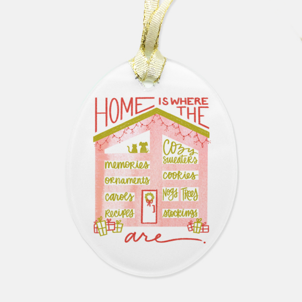 """Home Is"" Glass Ornament"