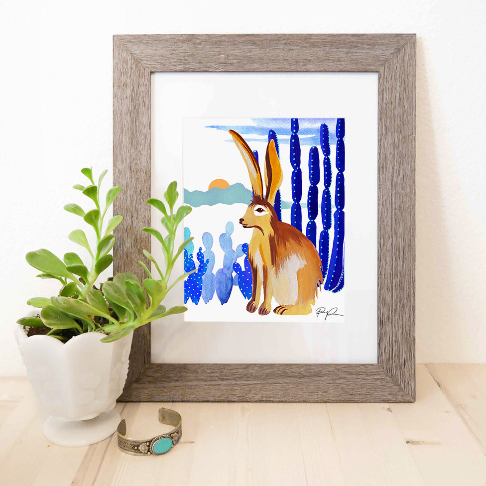 """Monsoon Jackrabbit"" Watercolor Print"