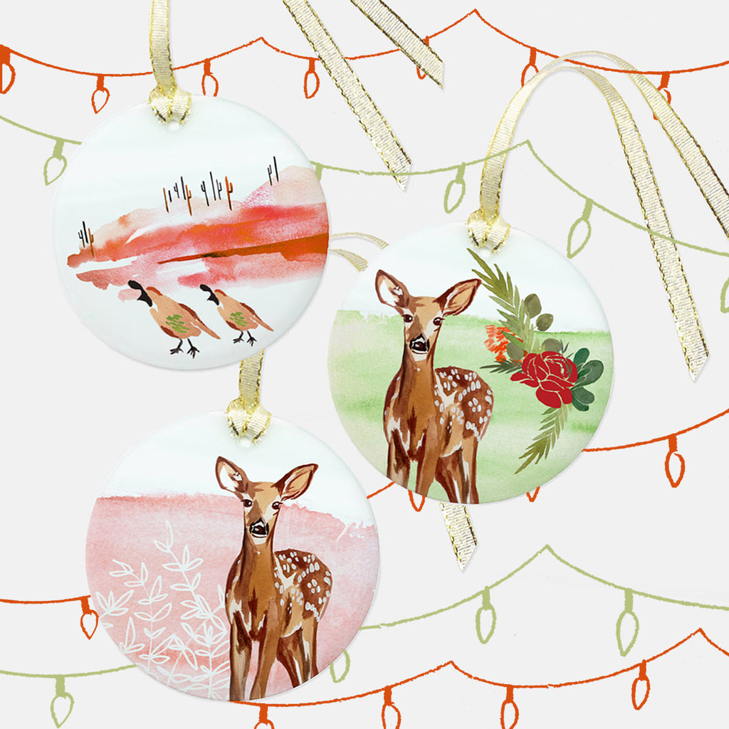 """Fawn in the Foliage"" Glass Ornament"