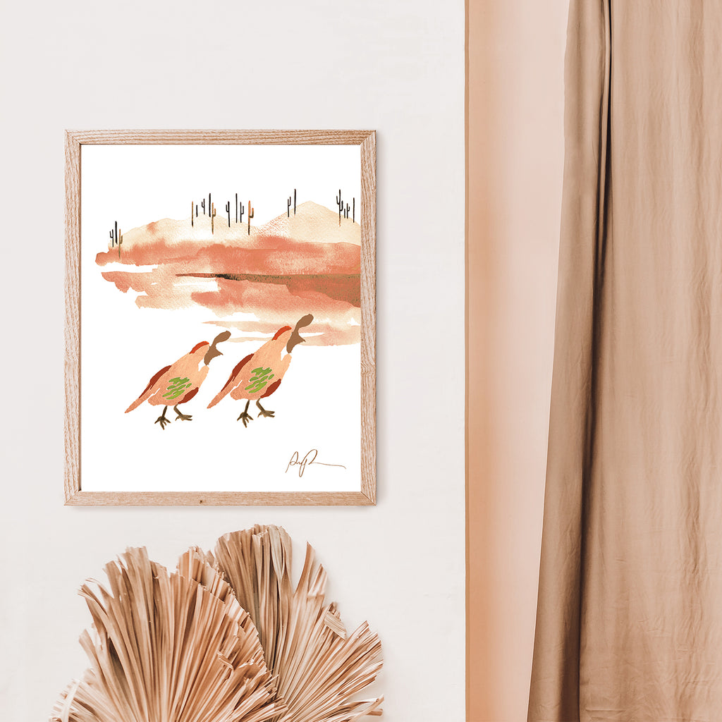 """Quail on the Trail"" Watercolor Print"