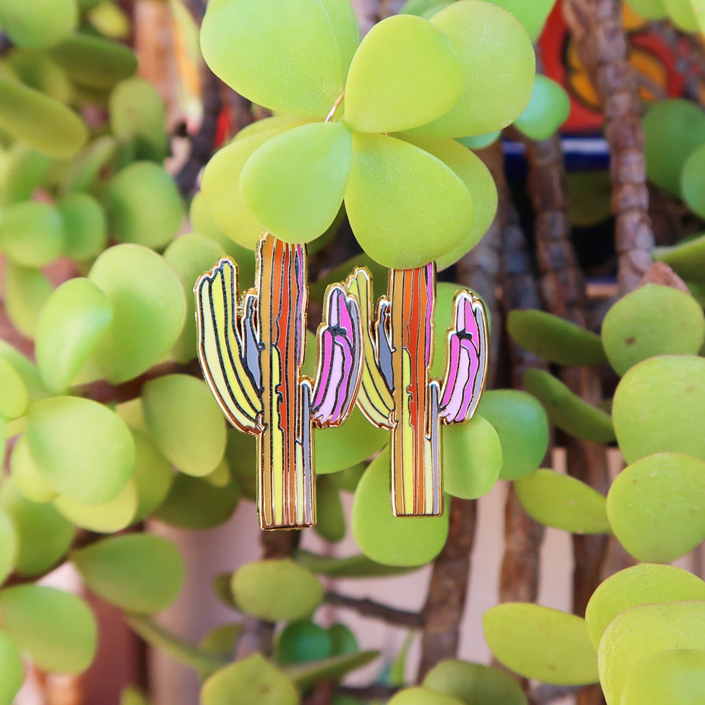 """Technicolor Saguaro"" Earrings"