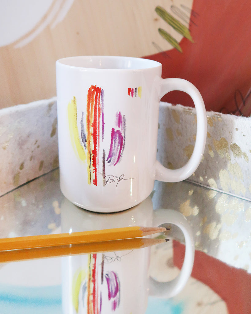 """Technicolor Saguaro"" Ceramic Mug"