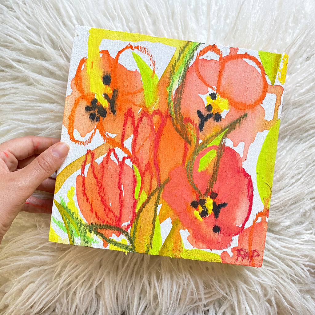 """Tulip Field"" Original Watercolor on Cradled Wood Panel"