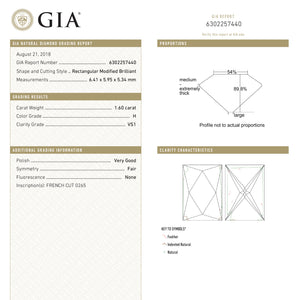 1.60ct 6.41x5.95x5.34mm GIA VS1 H French Cut 18889-02
